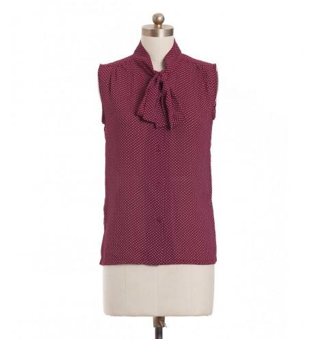 חולצת וינטג' סגולה מנוקדת