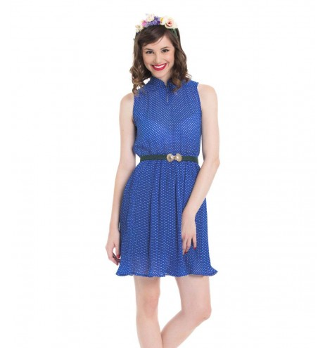 שמלת וינטג' פולקה כחולה