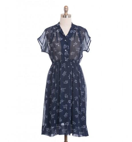 שמלת וינטג' כחולבן