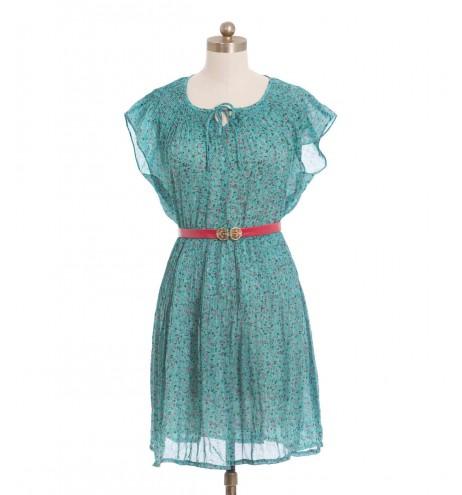 שמלת וינטג' טורקיז פרחוני