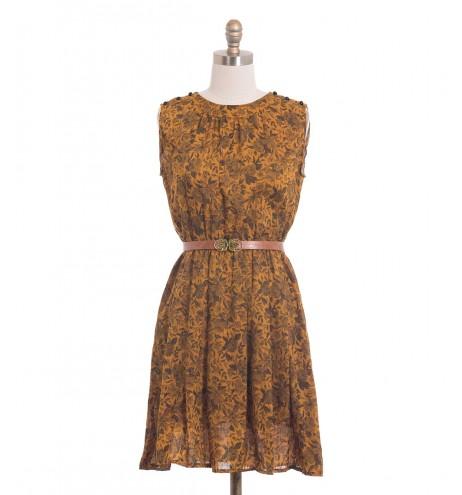 שמלת וינטג' הדפס שושנים