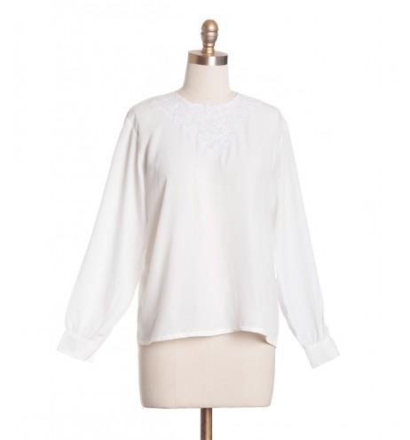 חולצת וינטג' רקמה לבנה