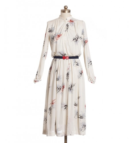 שמלת וינטג' שמנת נוצות