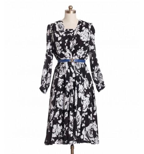 שמלת וינטג' מעטפת שחור לבן