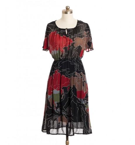 שמלת וינטג' מפת העולם