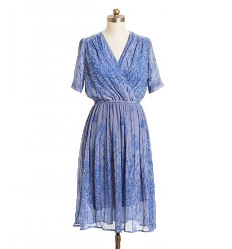 שמלת וינטג' פריחה כחולה