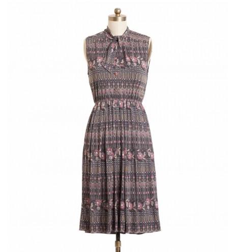 שמלת וינטג' אפורה פרחונית