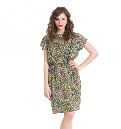 שמלת וינטג' פסיפס צבעוני