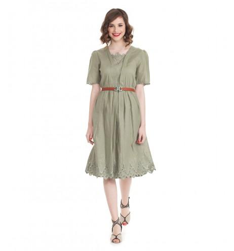 שמלת וינטג' רקמה ירוקה