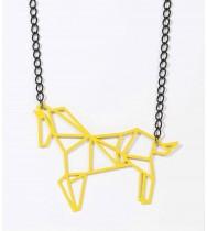 שרשרת סוס אוריגמי צהוב