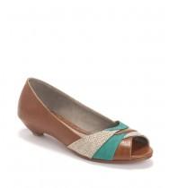נעלי מאלי חום- טורקיז- קש