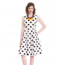 שמלת ספארי לבן נקודות