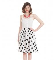 חצאית גאנה לבן נקודות
