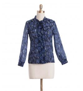 חולצת וינטג' פרחים כחולים