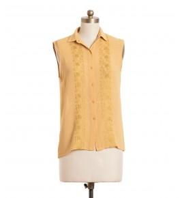 חולצת וינטג' רקמת ריבועים